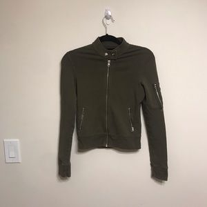 TNA zipper army green sweater